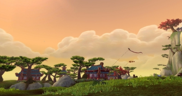 cute long view image of Pandaria hillside and small buildings